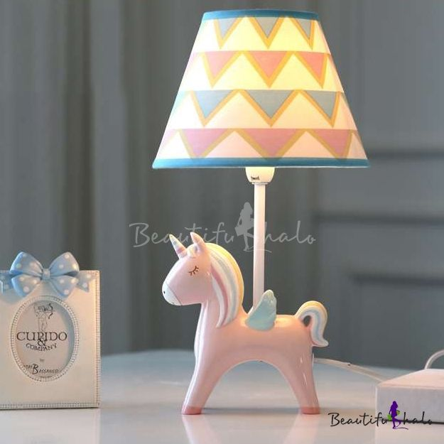 Single Light Cone Table Light With Blue Pink Unicorn Base Children Room Fabric Table Lamp Table Lamp Unicorn Lamp Kids Lamps