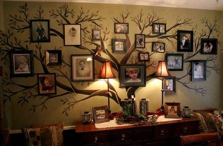 Paint a tree on the wall as a way to center pictures