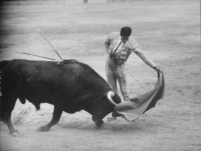 Spanish Matador Antonio Ordonez Executing Left Handed Pass Called Pase Natural During Bullfight