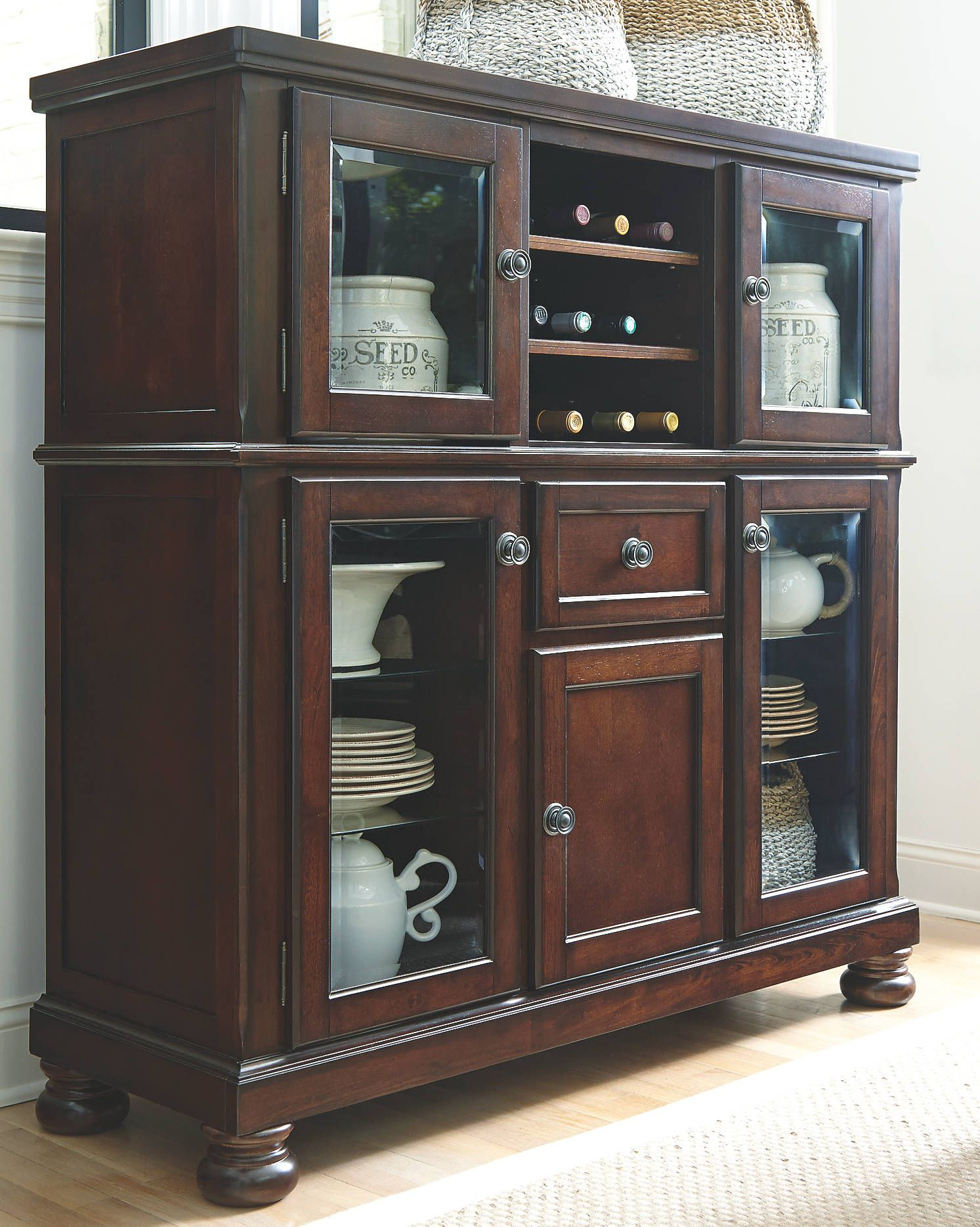 With Its Glass Panel Doors Antique Style Hardware And Classic Bun Feet The Porter Dining Room