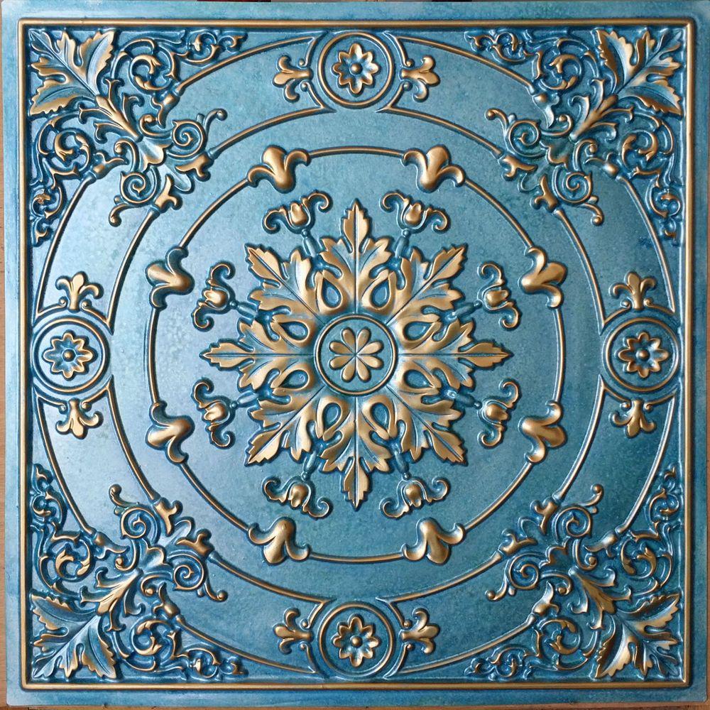 PL18 Faux tin paints cyan gold ceiling tiles decoration wall ...