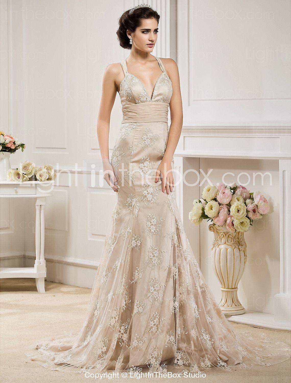 Lace mermaid wedding dress with train  Mermaid  Trumpet Straps Sweep  Brush Train Chiffon Lace Wedding