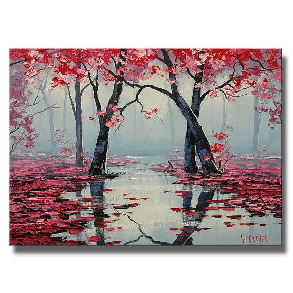 Pink Trees Oil Painting Ready To Hang River By