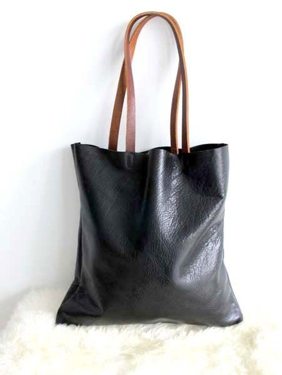 d8cc65fd9670 Black and brown Leather Tote Bag Simple Black Leather Bag