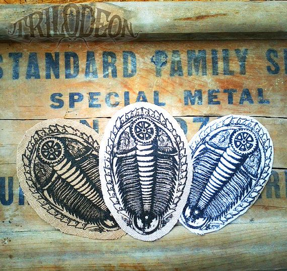 Trilobite Stickers or Sew On Patches Set - 1 pair