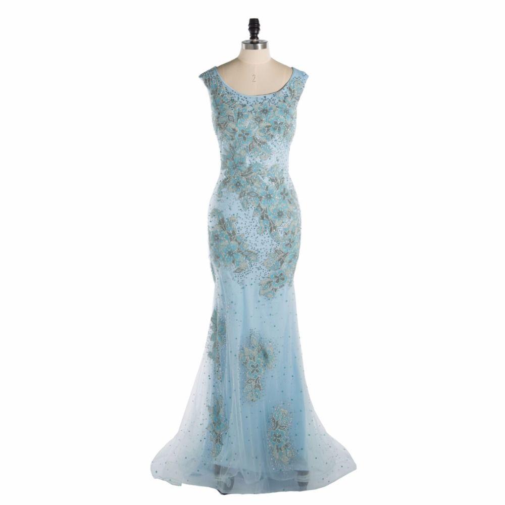 Custom made luxury crystals long prom dresses elegant scalloped