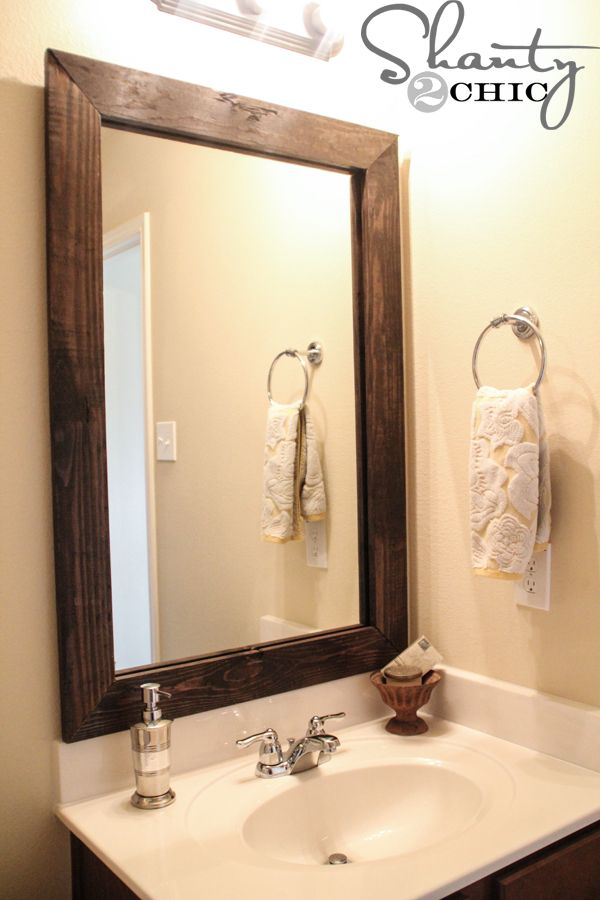 Easy diy bathroom updates pinterest diy mirror bathroom mirrors and builder grade Frames for bathroom wall mirrors