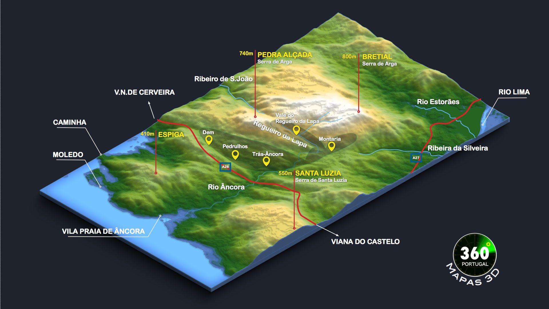 Mapa 3d Da Serra Da Arga E Envolvente Viana Do Castelo Portugal