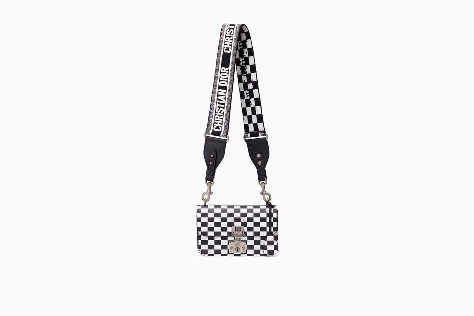 3051dcdb8e9d Small Dioraddict flap bag in black and white printed calfskin with