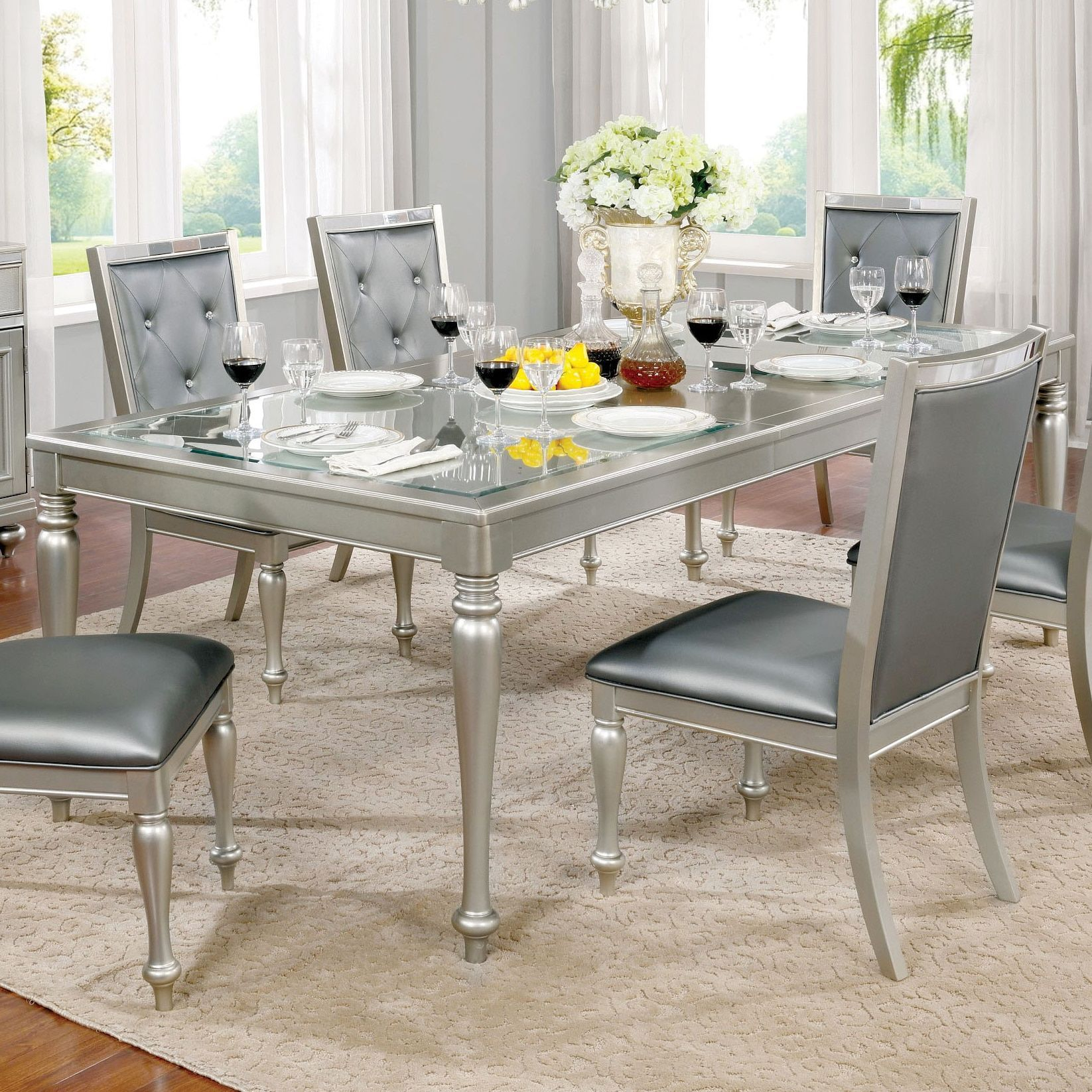Furniture Of America Glendel Glam Embossed Glass Top Silver Grey Dining Table With 18 Inch