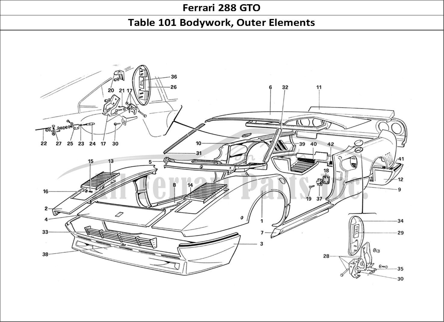 Ferrari 288 Gto Bodywork Table 101 Bodywork Outer Elements Ferrari 288 Gto Gto Bodywork