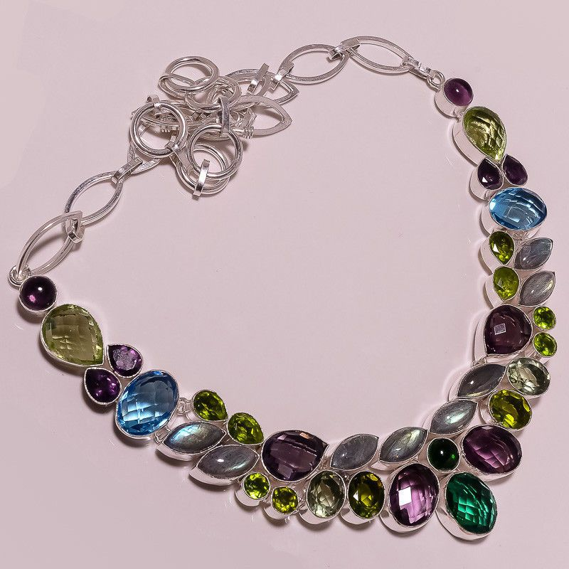 .925 Sterling silver natural labradorite+peridot+bt+multi Necklace s2 85gm #Handmade #Necklace