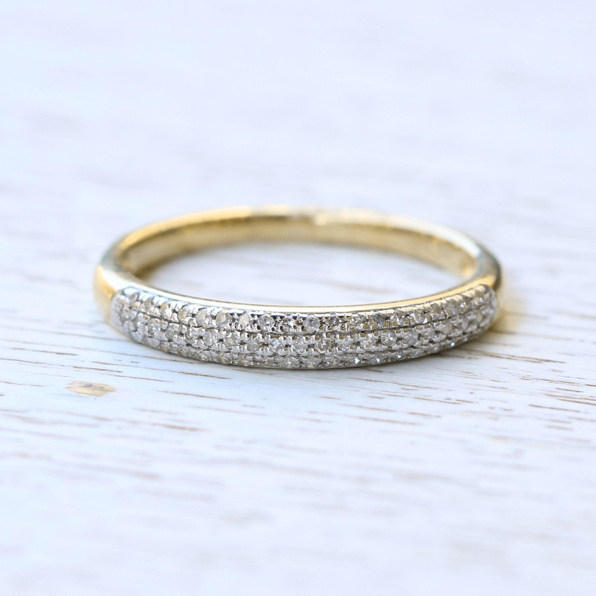 10K Yellow Gold Rounded Pavé Diamond Ring