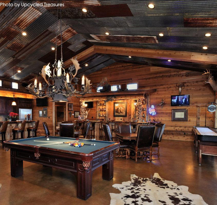 Very Large Garage Turned Into A Man Cave With A Pool Table Full