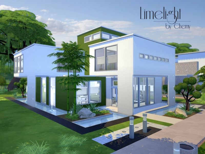 this ultra modern home features an indoor fountain and open concept on the 2nd floor sims 4 - Sims 4 Home Design 2