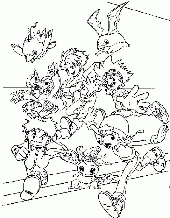 A Group Of Happy Kids And Digimons Coloring Page