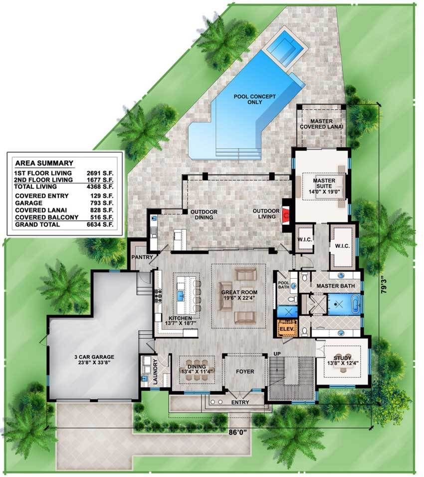 Plan 86022bw Contemporary House Plan With Upstairs And Downstairs Outdoor Space Contemporary House Plans House Plans Floor Plans
