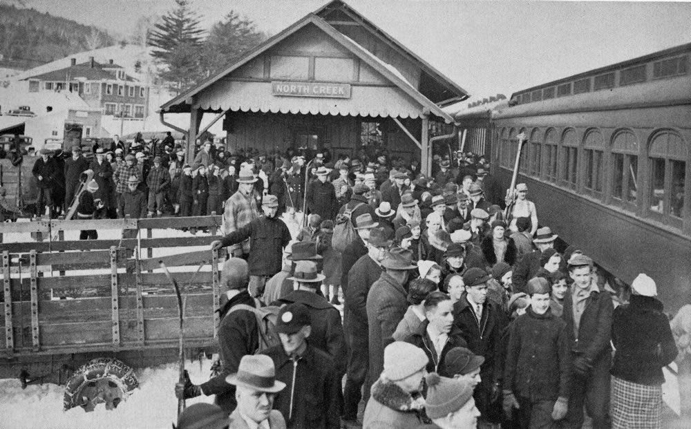 1930s snow train arrives at North Creek Depot.in Adirondack Mountains go to http://americanroads.net/adirondack_trail_mix_winter2014%20.htmfor the rest of the story