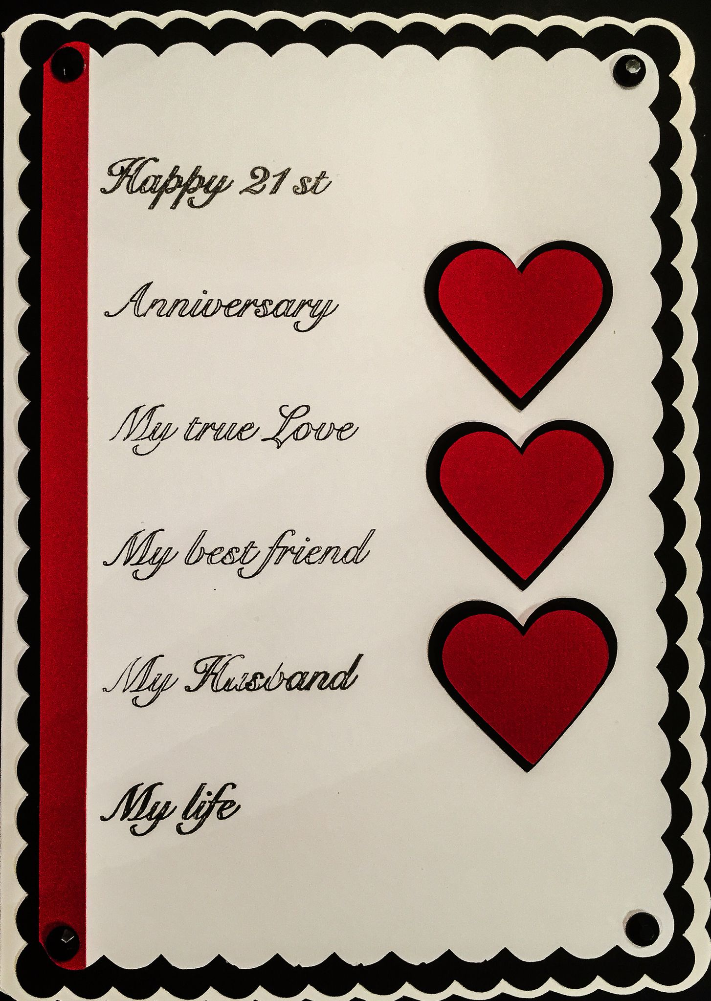 21st Wedding Anniversary.Homemade 21st Heart Wedding Anniversary Husband Card Cards Anniv