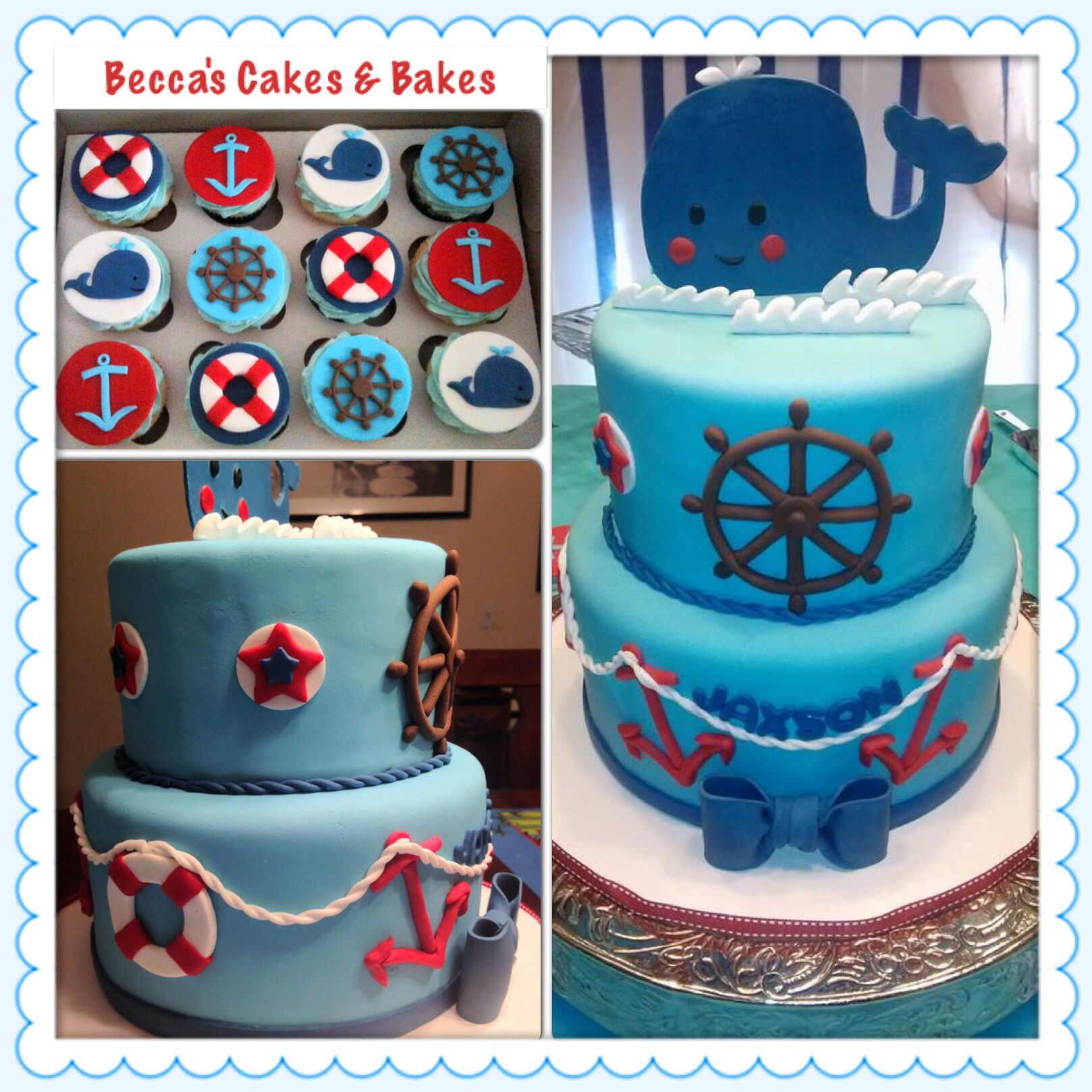 Whale, Nautical Baby Shower Cake With Matching Cupcakes