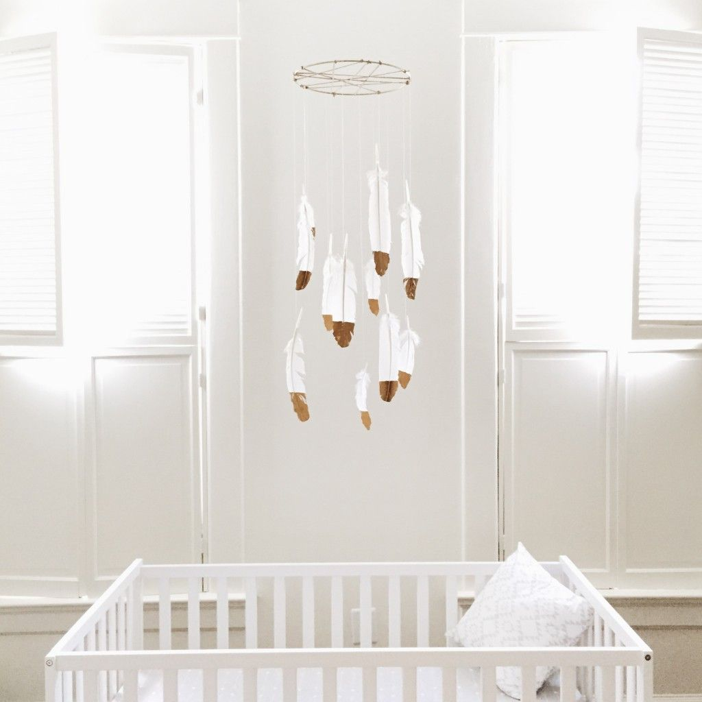 White Nursery Diy Feather Mobile Gold Dipped Feathers