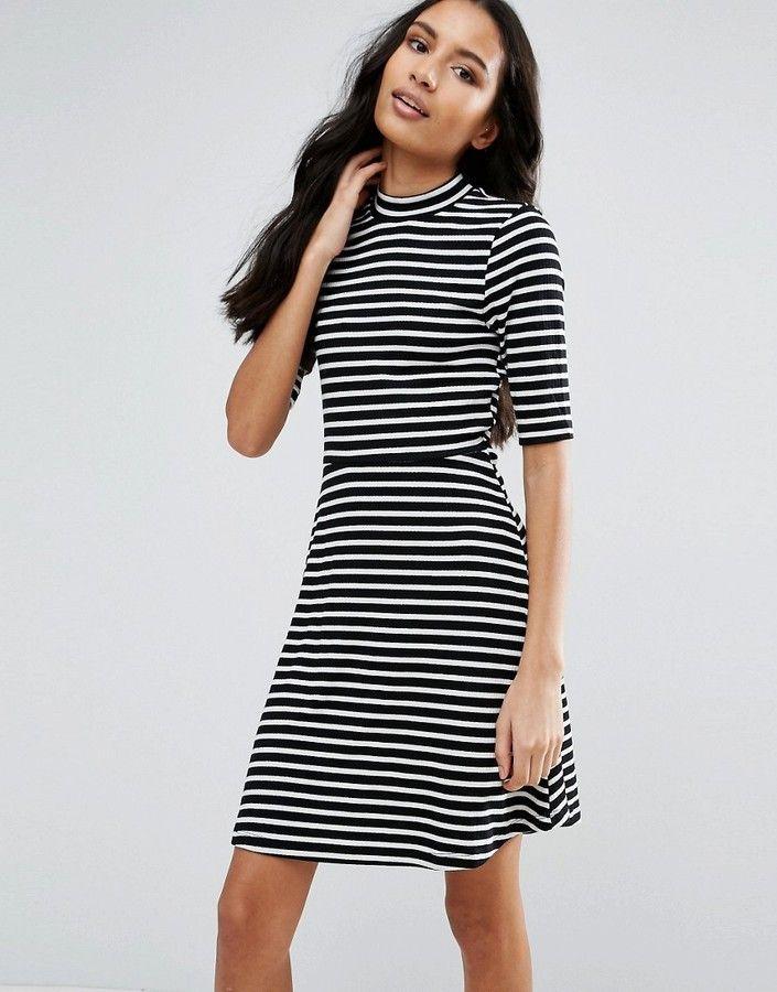 Vero Moda 3/4 Sleeve High Neck Striped Midi Dress - Black | Products