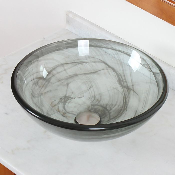 Double Layered Tempered Glass Bowl Vessel Bathroom Sink Home - Vessel Sinks Bathroom