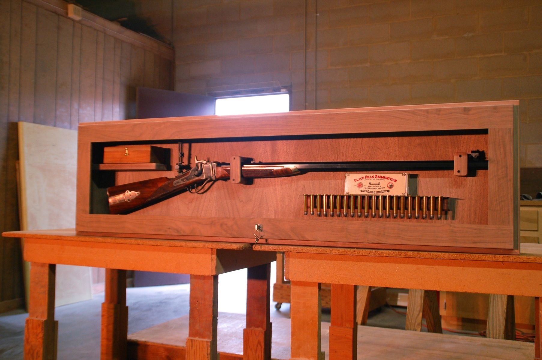 Double pistol handgun revolver gun display case cabinet rack shadowbox - Flintlock Display Case
