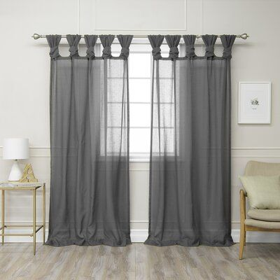 Rosdorf Park Hickey Solid Semi Sheer Tab Top Curtain Panels
