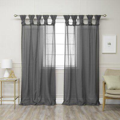 Rosdorf Park Hickey Solid Semi Sheer Tab Top Curtain Panels