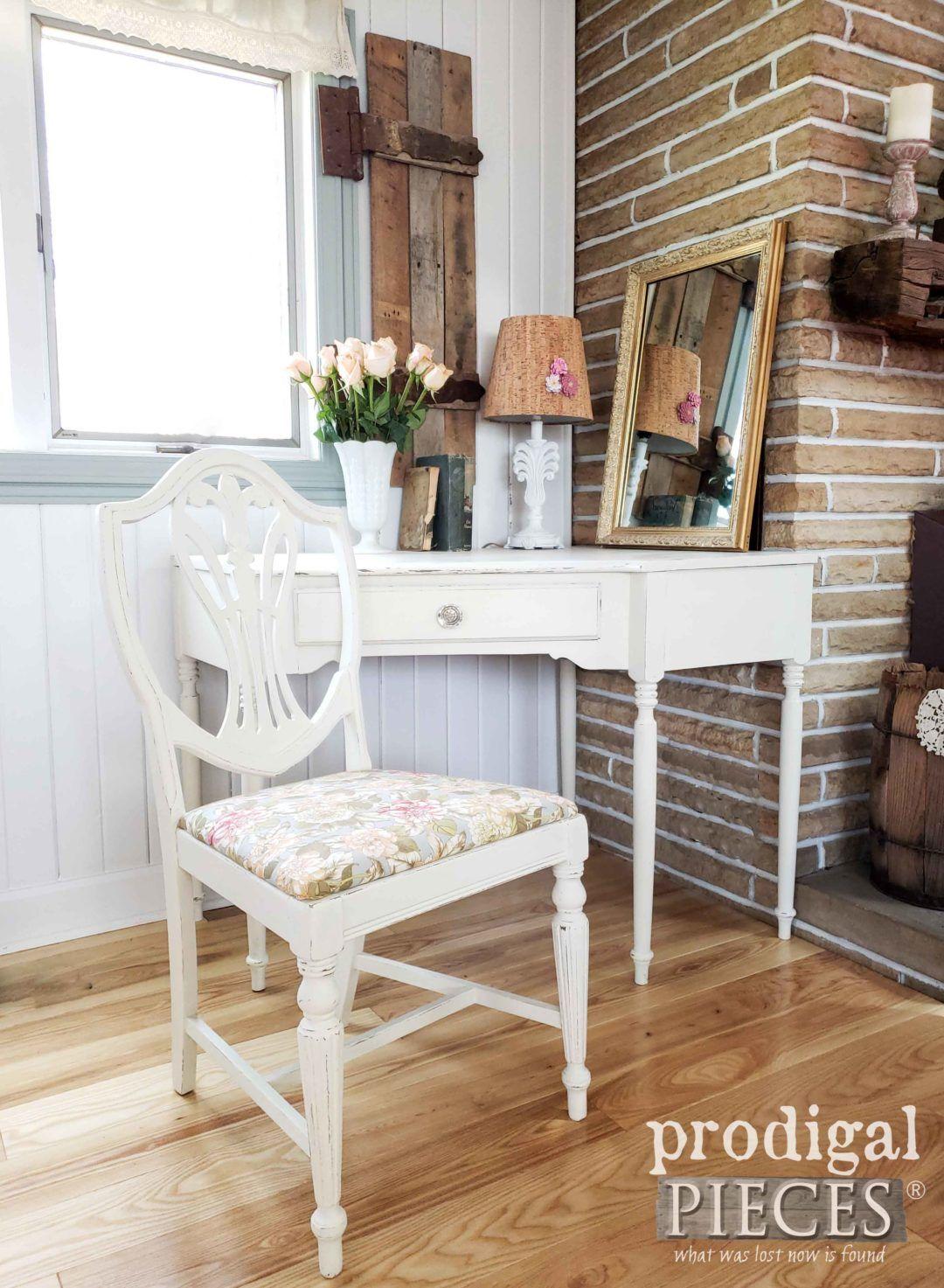 Corner writing desk upholstered chair set corner