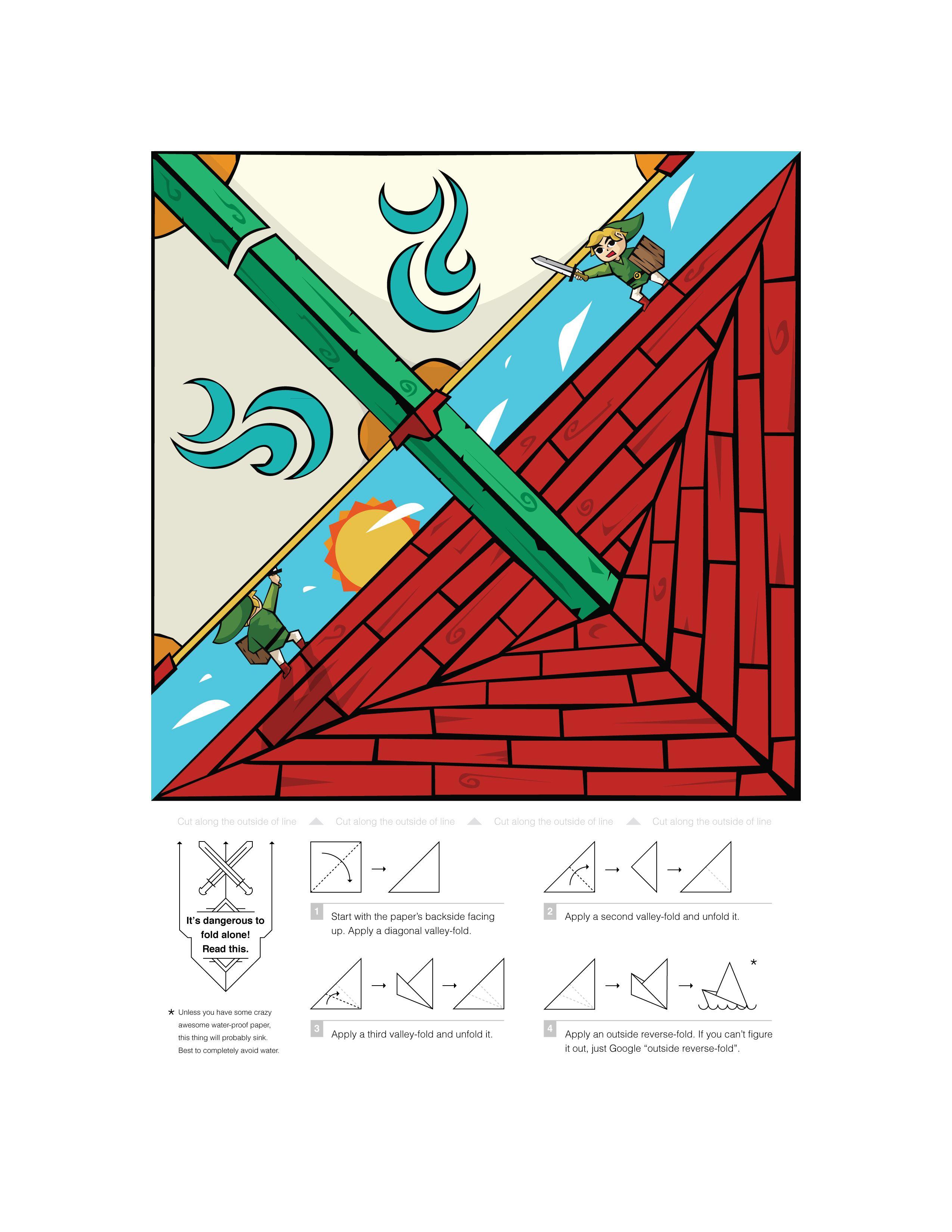 Geek 014 The Legend Of Zelda Red Lion King Origami Boat Front Origami Boat Geeky Craft Origami