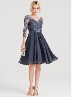 04ceeda6456d55 A-Line/Princess V-neck Knee-Length Chiffon Cocktail Dress With Beading