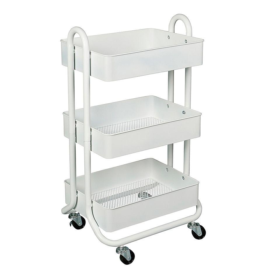 Squared Away 3 Tier Bath Storage Cart Bed Bath Beyond In 2021 Home Decor Bath Storage Dorm Room Decor 3 tier cart with wheels