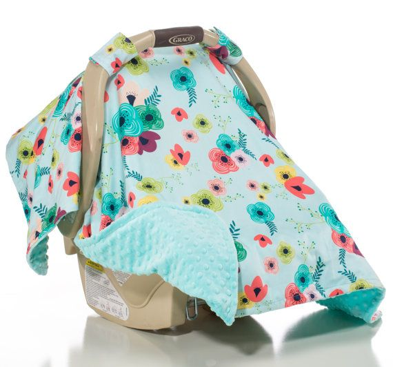 Girl Carseat Canopy Car Seat Cover Baby Flowers Poppies Aqua Teal Green Pink Mauve Spring Colors