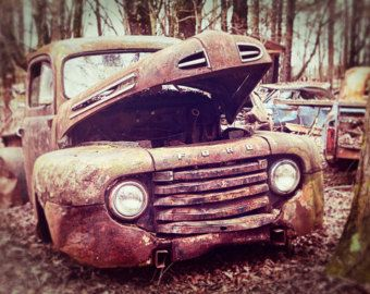 Old Ford Pick Up Truck Photo Vintage Truck Rusted Abandoned Cool - Cool wall cars
