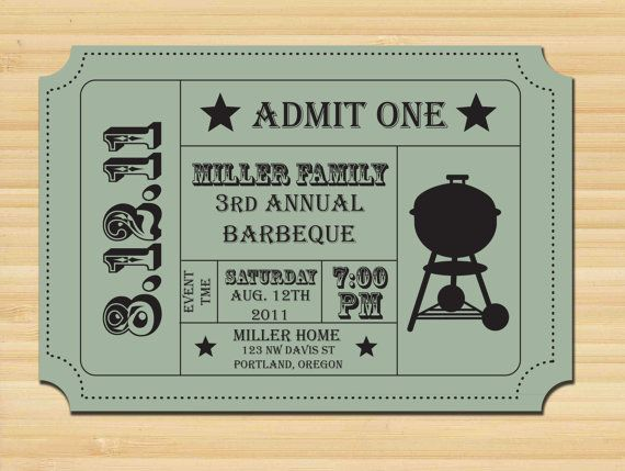 printable ticket stub barbecue invitation bbq party family
