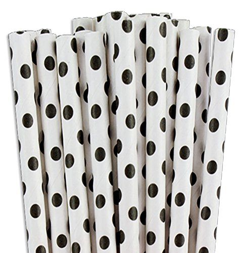 Sustainable Paper Straws Polka Dots Black and White 7.75 inches 100 count box Restaurantware