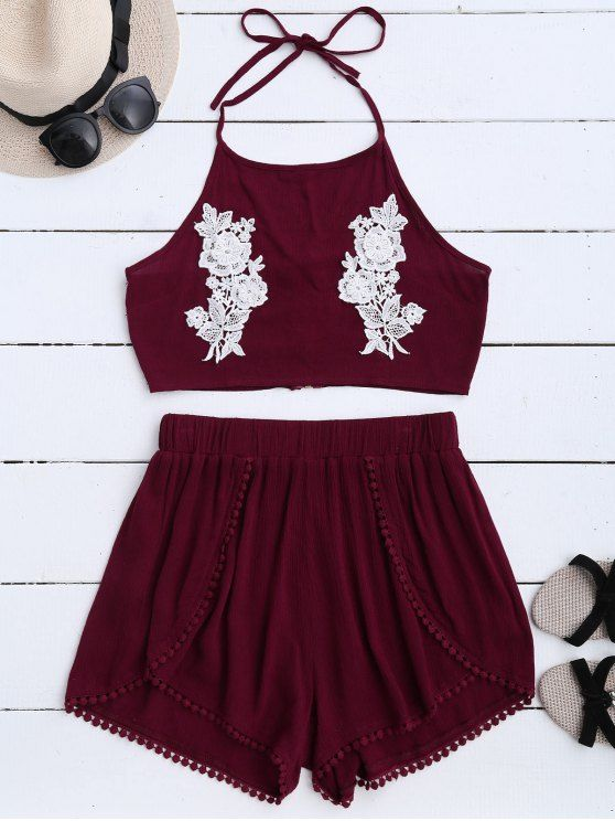 7bf186b83ec  15.99 Lace Floral Halter Crop Top and Shorts - WINE RED M