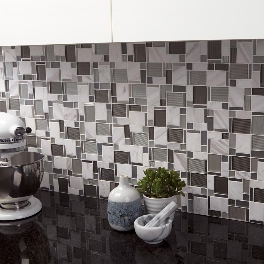 Allen Roth Essentials Modern Silver Mixed Material Stone And Gl Mosaic Indoor Outdoor Wall Tile Common 12 In X Actual 11 75