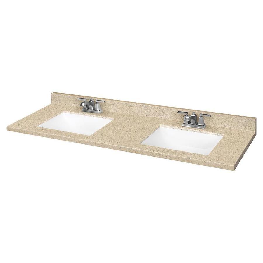 Dune Solid Surface Integral Bathroom Vanity Top Common 61 In X