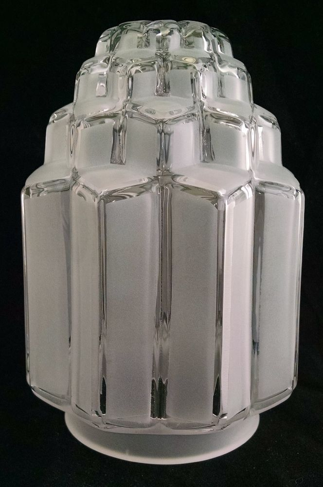 1 of 3 Great Vintage Retro Bell Shaped Clear Glass Etched Cut Design Lamp Shade Antique Furniture