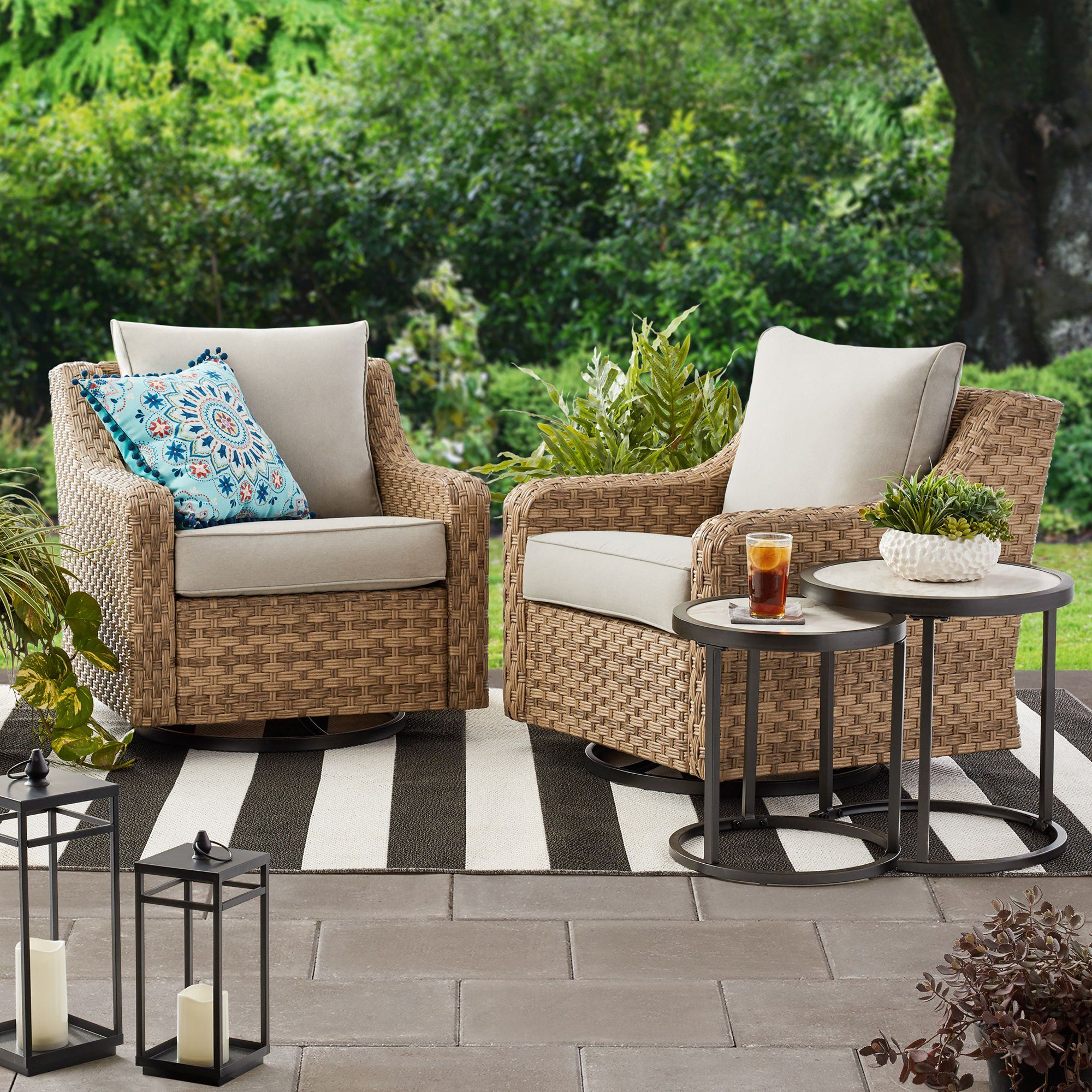 Better Homes Gardens River Oaks 2 Piece Swivel Gliders With Patio Covers Walmart Com Wa Outdoor Swivel Chair Outdoor Wicker Chairs Wicker Patio Furniture