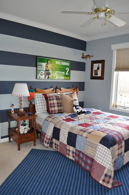 Ben moore nantucket fog the color of the stripe is ben for Boys room accent wall