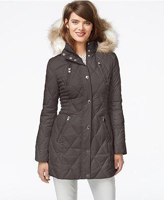 Laundry By Design Faux Fur Trim Quilted Puffer Coat Coats Women Macy S Grey Puffer Coat Puffer Coat Coats For Women