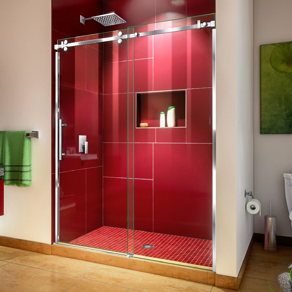 DreamLine Enigma Sky 56-60W x 76H Frameless Sliding Shower Door in Polished Stainless Steel - Dreamline SHDR-6560760-08 #framelessslidingshowerdoors