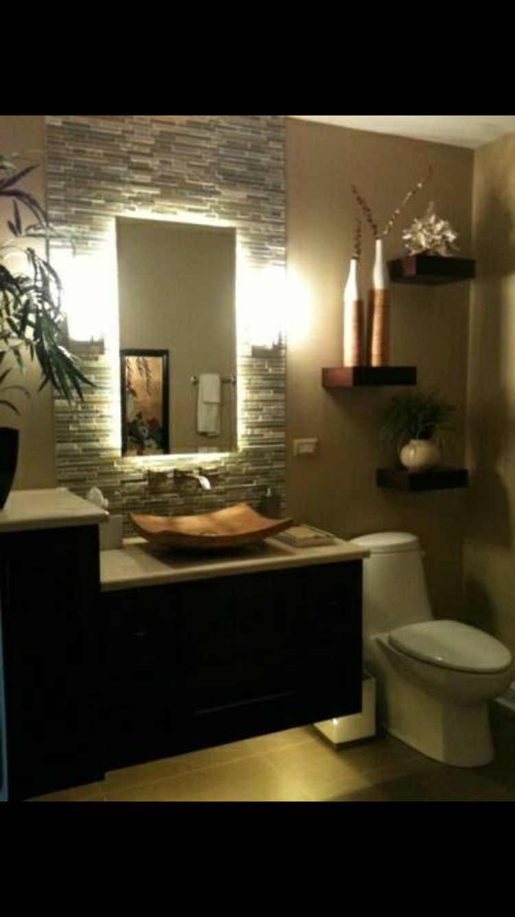 Hana Bath Tropical Bathroom Chicago By J Loving The Wall Mounted Vanity With Lighting Underneath Tile Mirror Sconces