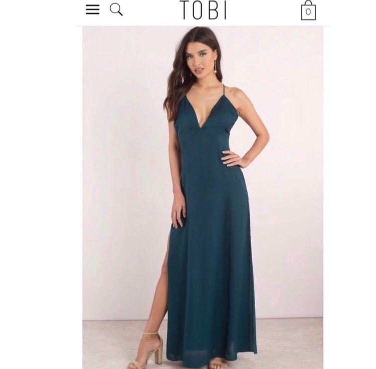 ad171e51b8 Womens Tobi emerald low back maxi dress size small  fashion  clothing   shoes