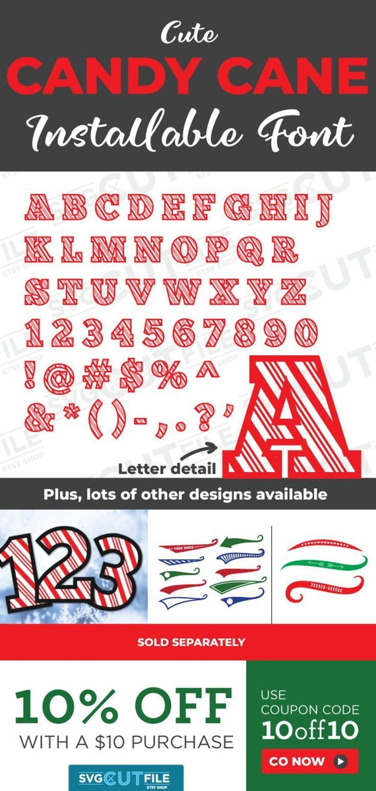 Candy cane letters OTF installable font, striped Christmas