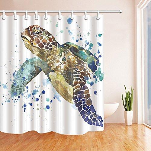 Water Mildew Resistant Swimming Sea Turtle Shower Curtain 69x70